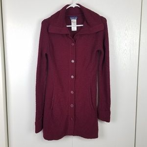 Patagonia long knit button-up cardigan size small